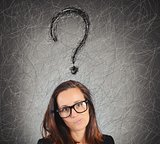 Businesswoman with big question