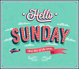 Hello Sunday typographic design.