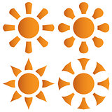 Vector set of orange sun