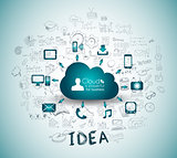 Cloud Computing with Business doodles Sketch background