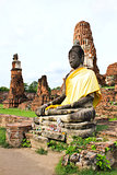 Ancient statue of buddha in wat mahathat temple, Ayutthaya Thail