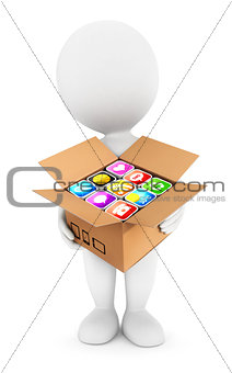 3d white people holding a box with applications