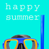 diving mask and text happy summer