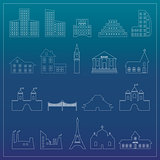 Buildings flat design web icons set