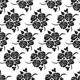 Seamless pattern with black flowers