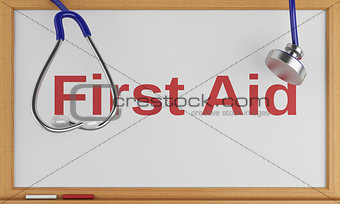 3d blackboard with the word first aid. Medicine concept