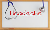 3d blackboard with the word headache. Medical concept