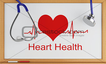 3d blackboard with the word heart health. Medical concept