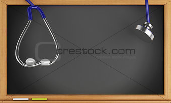 3d blackboard and Stethoscope.