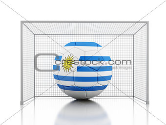 3d Soccer ball with Uruguay flag
