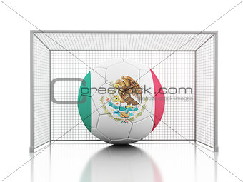 3d Soccer ball with Mexican flag