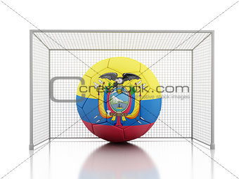 3d Soccer ball with Ecuador flag