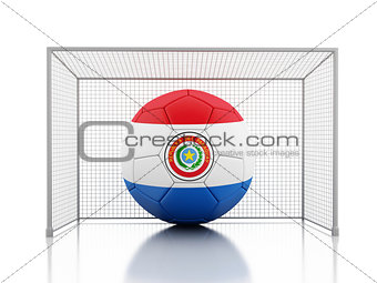 3d Soccer ball with Paraguay flag
