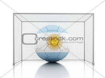 3d Soccer ball with Argentina flag