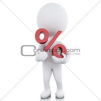 3d white people with a percent sign
