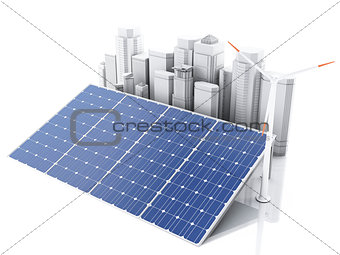 3d City with alternative energy.