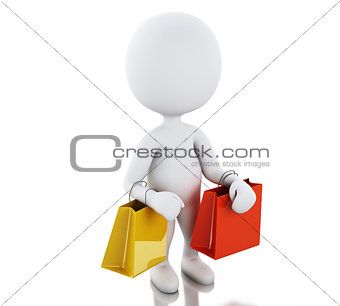 3d white people with shopping bag