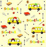 Cute school cartoon seamless pattern. Back to school illustration.