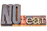 NO fear word abstract in wood type