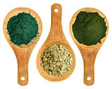 spirulina, kelp and chlorella powders