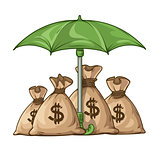 Umbrella protecting sacks with money currency euro