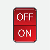 On Off switch slide red button on white. Toggle switch.