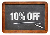 ten percent off blackboard sign