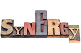 synergy word abstract in wood type