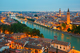 Verona skyline at night, Italy