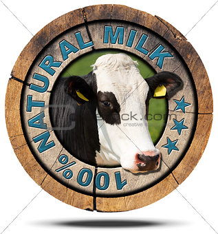 100 Percent Natural Milk- Wooden Icon
