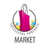 vector logo burgundy shopping bag