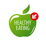vector logo green apple for a healthy diet