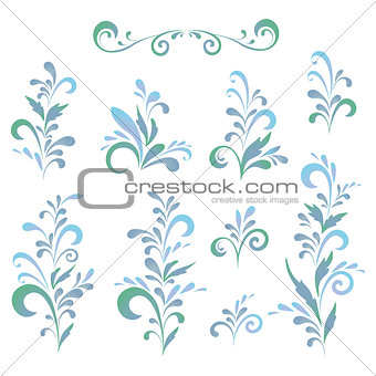 Abstract floral patterns, silhouettes
