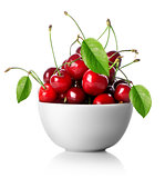 Cherries in plate isolated