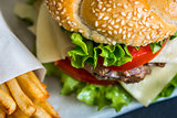 Homemade Hamburger with Fresh Vegetables and French Fries