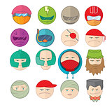 Emoticons smile vector illustration set of faces