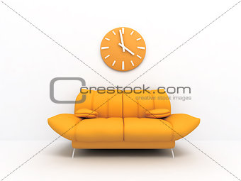 3D Sofa and clock