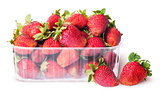 Freshly strawberries in a plastic tray and two near