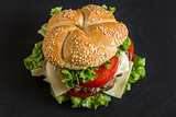 Hamburger with Fresh Vegetables