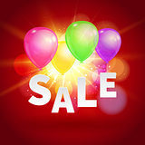 Sale with balloons and flare