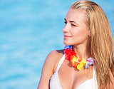 Cute female in Hawaiian leis