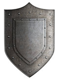 Big medieval coat of arms metal shield isolated