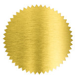 gold metal foil sticker seal isolated with clipping path included