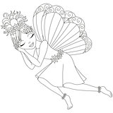 Cute fairy in dress is sleeping, coloring book page