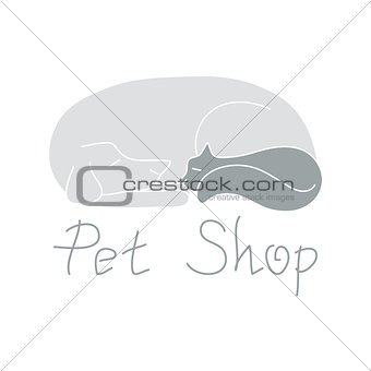 Cat and dog are sleeping, sign for pet shop logo