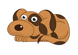 Vector illustration of cute sad funny doggy