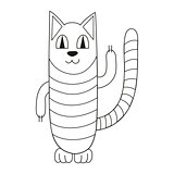 Vector illustration of striped cat smiling, coloring book page