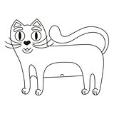 Funny cute red cat with white tummy, coloring book page