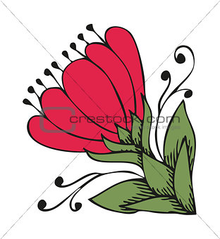 Ancient flower like magnolia in tattoo style