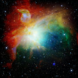 Colorful Universe filled with stars nebula and galaxy